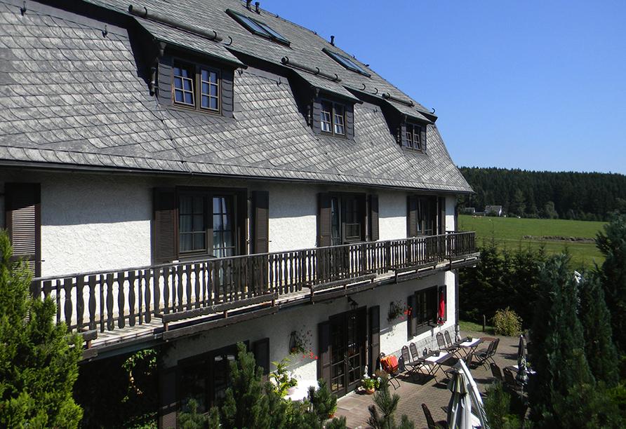 Landhotel Am Alten Zollhaus in Zschorlau im Erzgebirge Terrasse