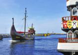 Hotel Diament Spa in Grzybowo, Schiff im Hafen von Kolberg polnische Ostsee