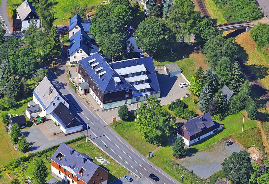 Hotel Schwarzes Ross in Oberwiesenthal im Erzgebirge, Luftaufnahme