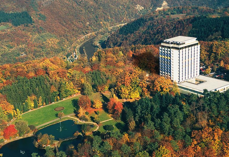 Wyndham Garden Lahnstein Koblenz Hotel in Lahnstein im Oberen Mittelrheintal, Luftaufnahme