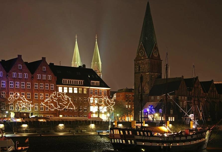 Hotel zur Riede in Delmenhorst, Abendstimmung