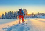 Genießen Sie eine Schneeschuhwanderung durch die traumhafte Harzer Winterlandschaft.