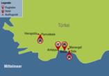 Türkische Riviera & Pamukkale, Reisezielkarte