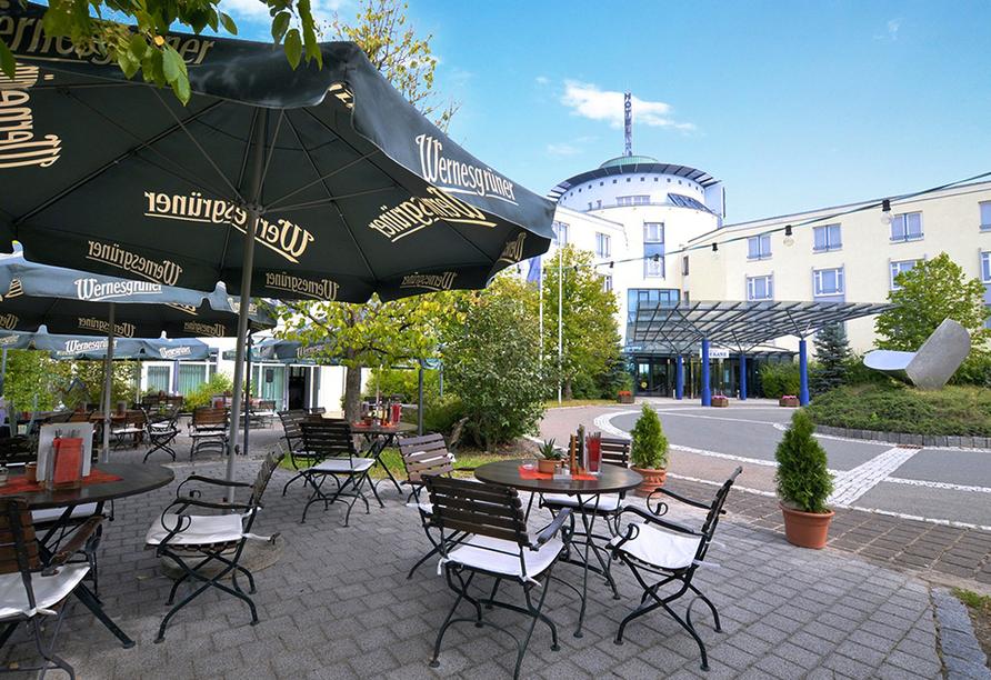 Hotel Meerane in Meerane, Terrasse