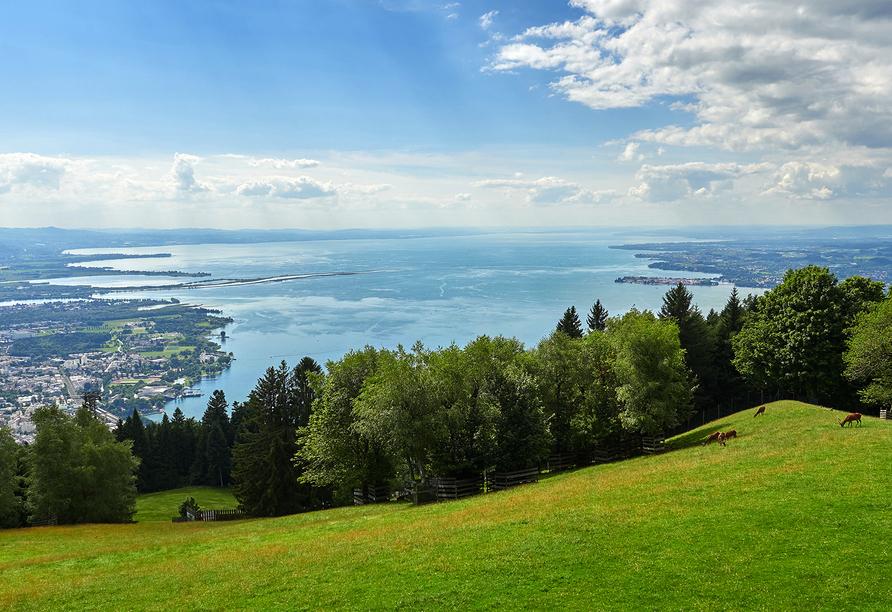 Ko'Ono Hotel & Restaurant, Konstanz, Bodensee, Blick vom Pfänder auf den Bodensee