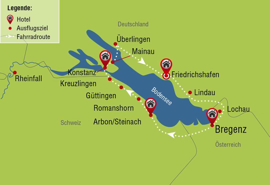 Bodensee Radreise, Route