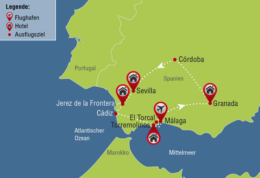 Busrundreise Temperamentvolles Andalusien, Reisezielkarte
