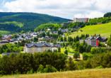 Pension Am Roten Hammer in Oberwiesenthal, Blick über Oberwiesenthal