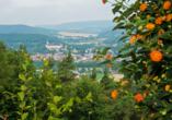 Panoramahotel am Marienturm in Rudolstadt im Thüringer Wald, Aussicht ins Tal