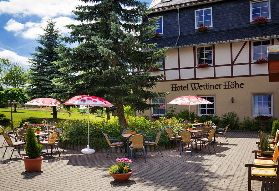 Panorama Berghotel Wettiner Höhe in Seiffen Erzgebirge, Terrasse