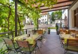 Hotel Gasthaus Zum Schwan in Oschatz in Sachsen Terrasse