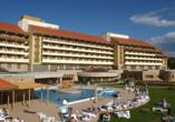 Hunguest Hotel Pelion in Tapolca, Außenansicht Tag
