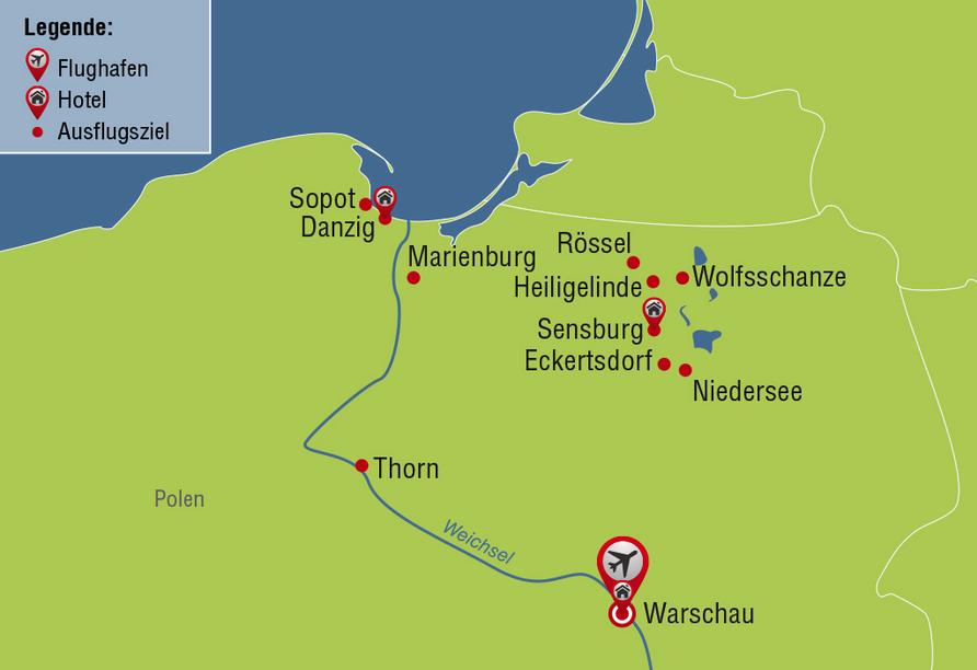 Reisezielkarte Rundreise Polen