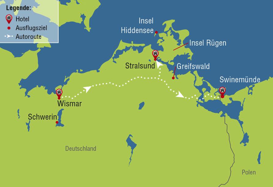 Ostsee Autorundreise, Reiseroute