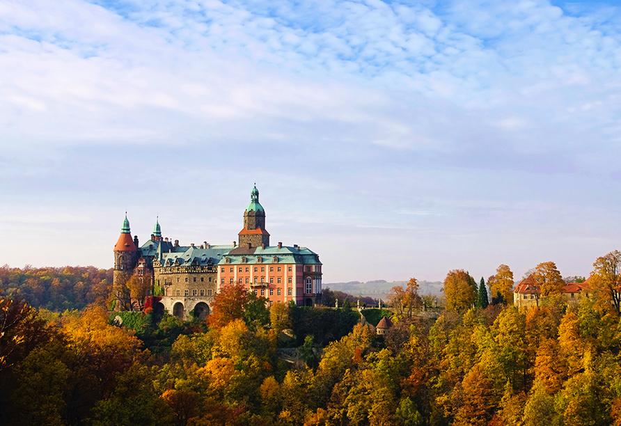 Hotel Swieradow in Bad Flinsberg in Niederschlesien, Ausflugsziel Schloss Fürstenstein