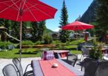 Hotel Kristall-Saphir in Saas-Almagell, Terrasse