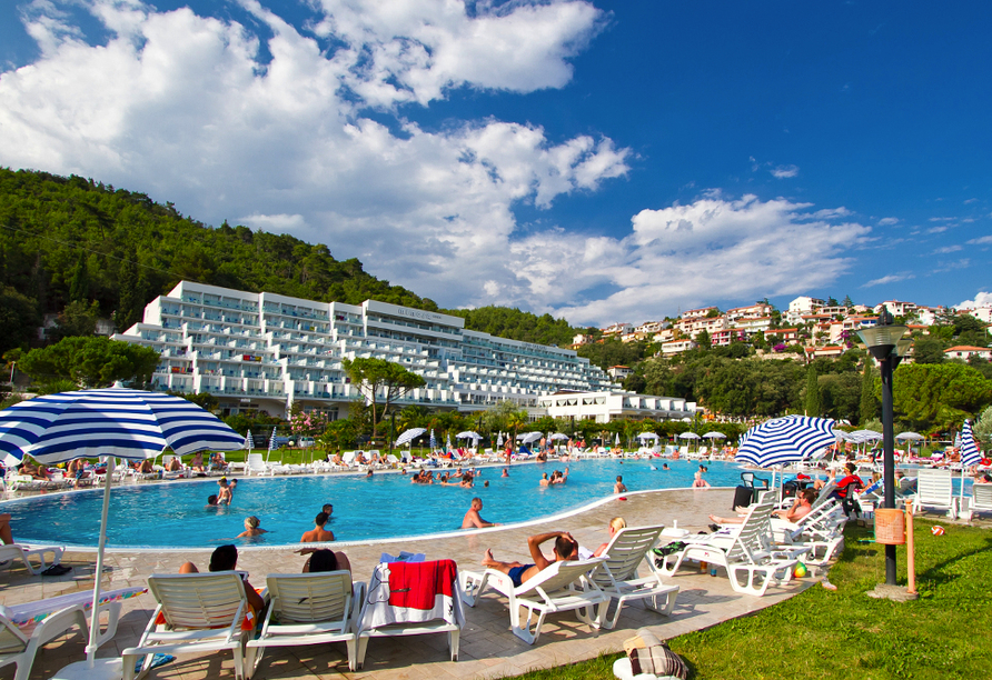 Hotel Mimosa in Rabac, Poollandschaft