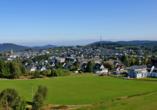 Landgasthof Wüllner in Winterberg-Altenfeld im Sauerland, Blick auf Winterberg