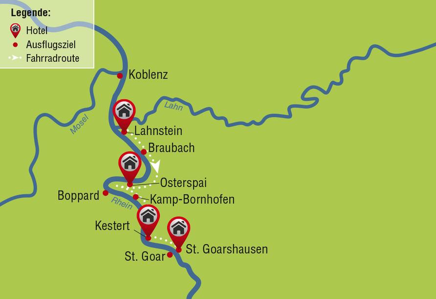 Reiseverlauf Wandererlebnis Rheinsteig