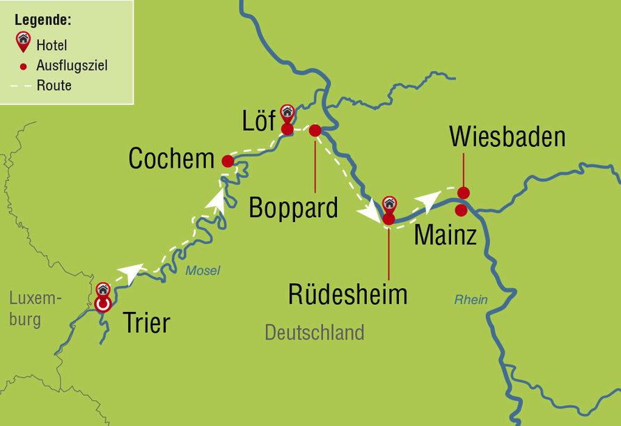 Rundreise Mosel & Rhein, Reiseroute