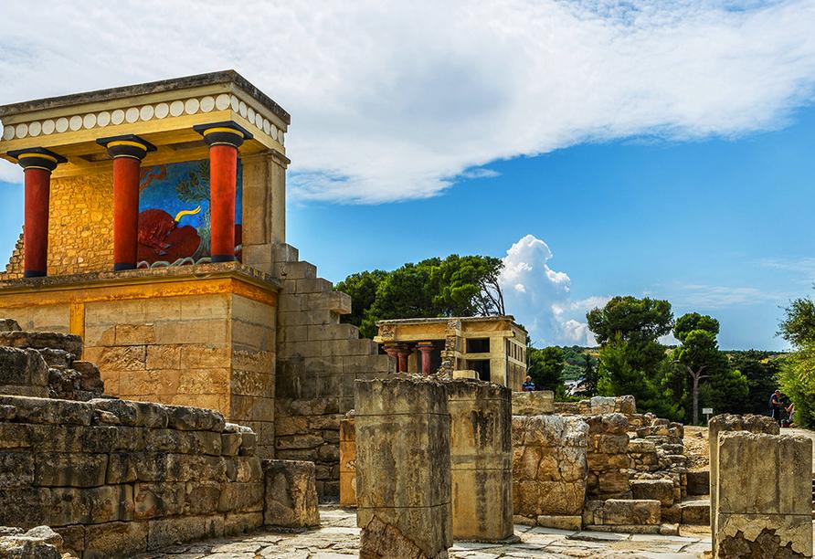 Der Palast von Knossos soll Sitz des sagenhaften Königs Minos, Sohn des Zeus und der Europa gewesen sein.