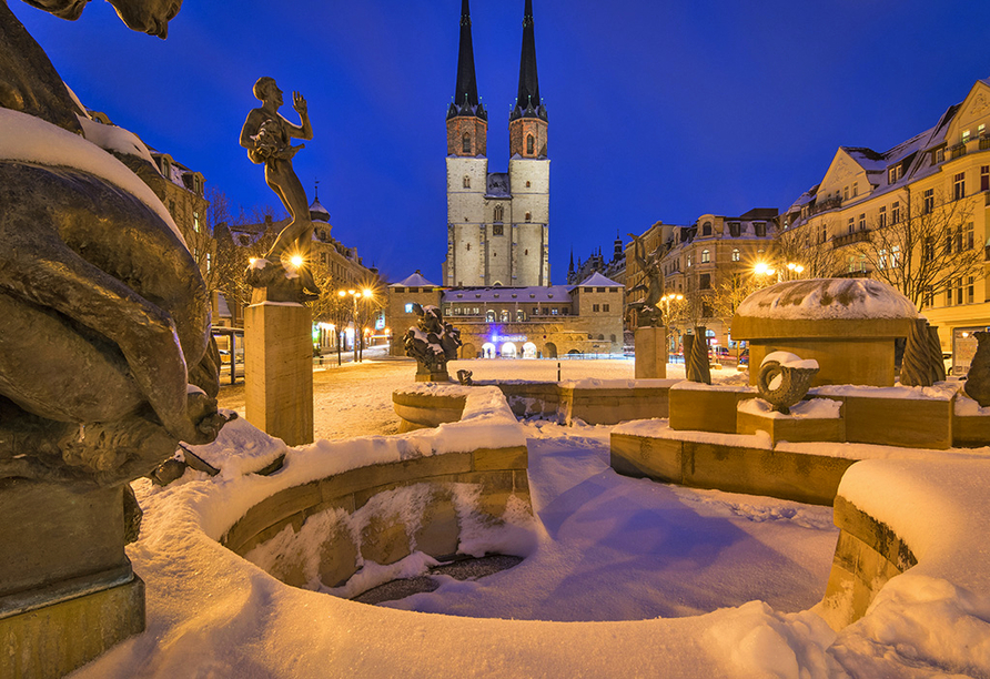 Hotel Trias, Halle (Saale) im Winter