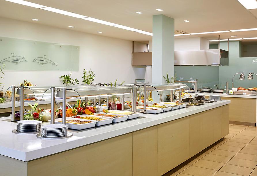 Lassen Sie es sich im Restaurant des Hotels Delfinia schmecken!