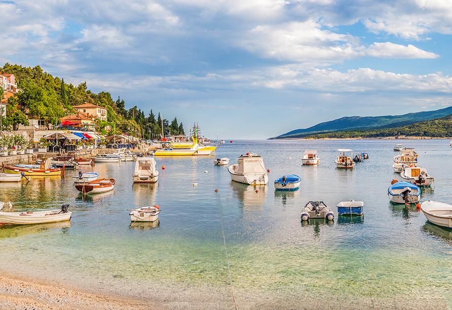Hotel Hedera in Rabac in Kroatien, Hafen Rabac