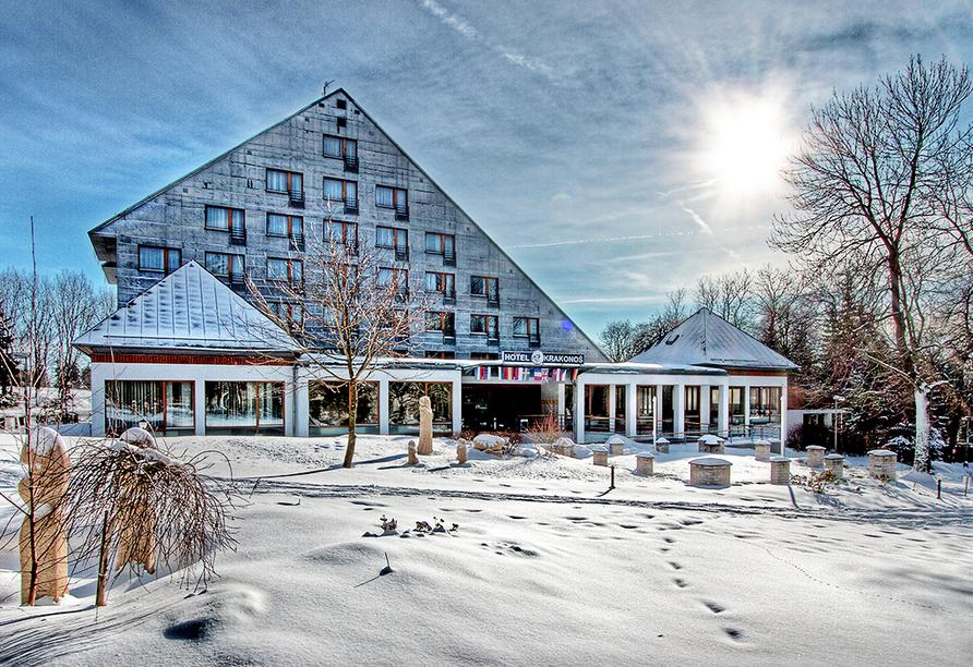 Krakonos, Marienbad, Tschechien, Außenansicht im Winter