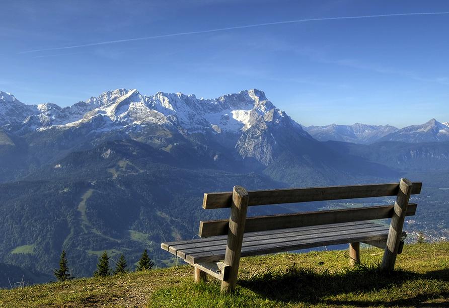 Wanderreise Starnberger See und Garmisch, Ausblick auf die Zugspitze
