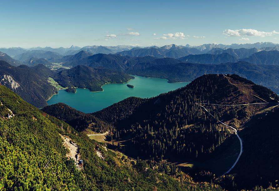 Wanderreise Starnberger See und Garmisch, Blick vom Herzogstand auf Kochelsee