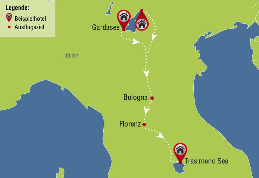Rundreise Gardasee & Trasimeno See, Reiseroute