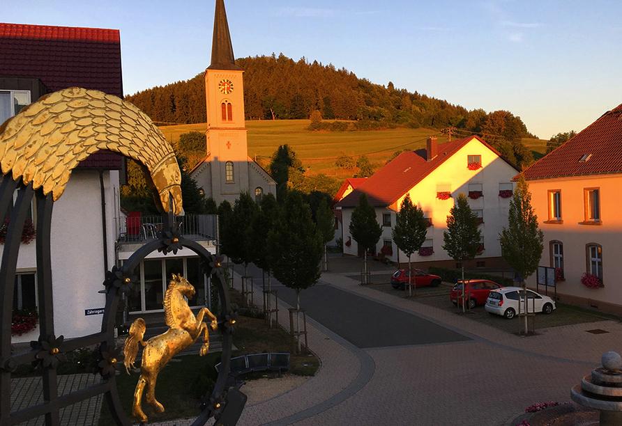 Hotel Gasthof zum Rössle in Hüfingen-Fürstenberg, Ausblick am Abend