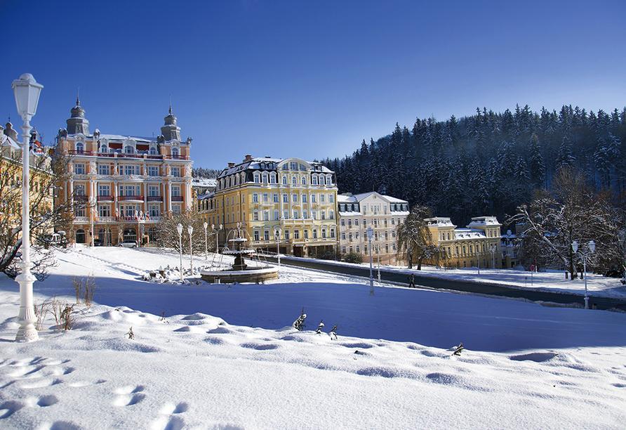 Spa Hotel Devin in Marienbad, Böhmisches Bäderdreieck, Tschechien, Marienbad im Winter