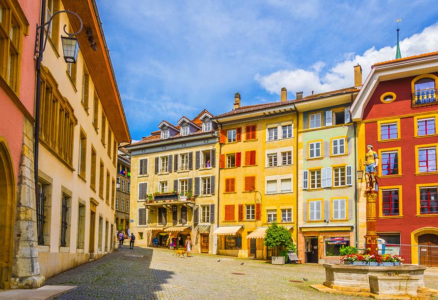 Hotel Dufour, Biel-Bienne, Schweiz, Altstadt mit Vennerbrunnen