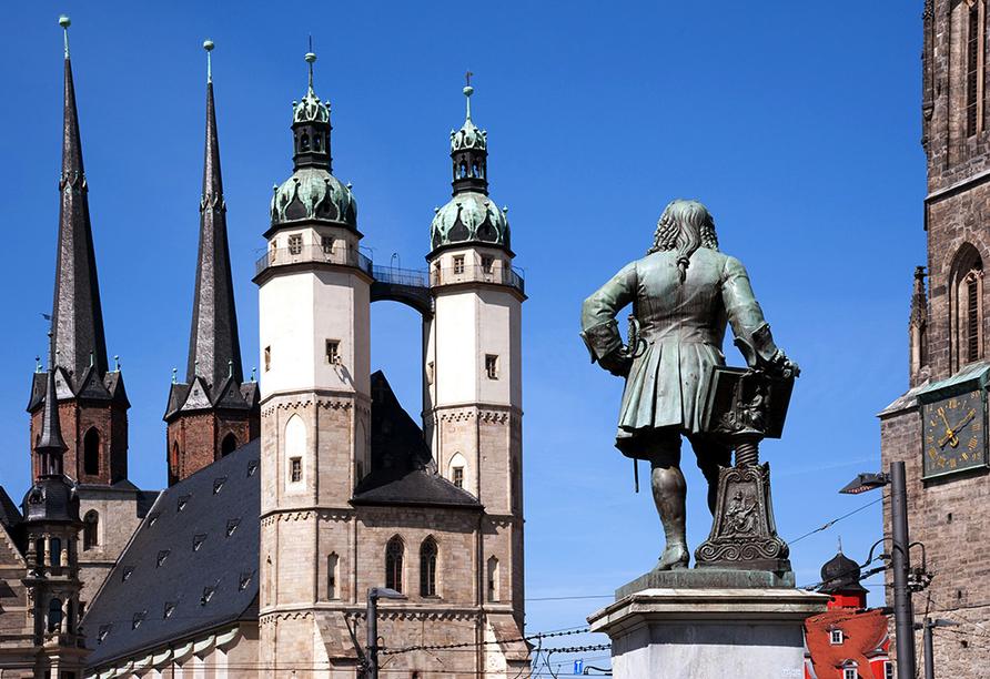 Kurpark-Hotel in Bad Lauchstädt, Händel Statue, Marktkirche in Halle/Saale