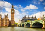 Ihre Reise startet in der Hauptstadt Großbritanniens, in London.