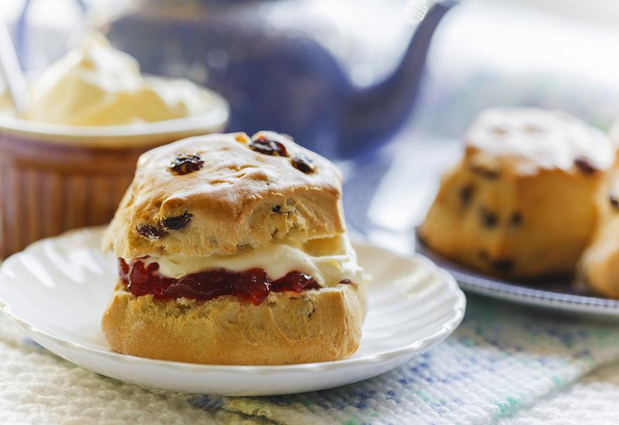 In St. Ives kommen Sie in den Genuss der köstlichen Mahlzeit Cream Tea.