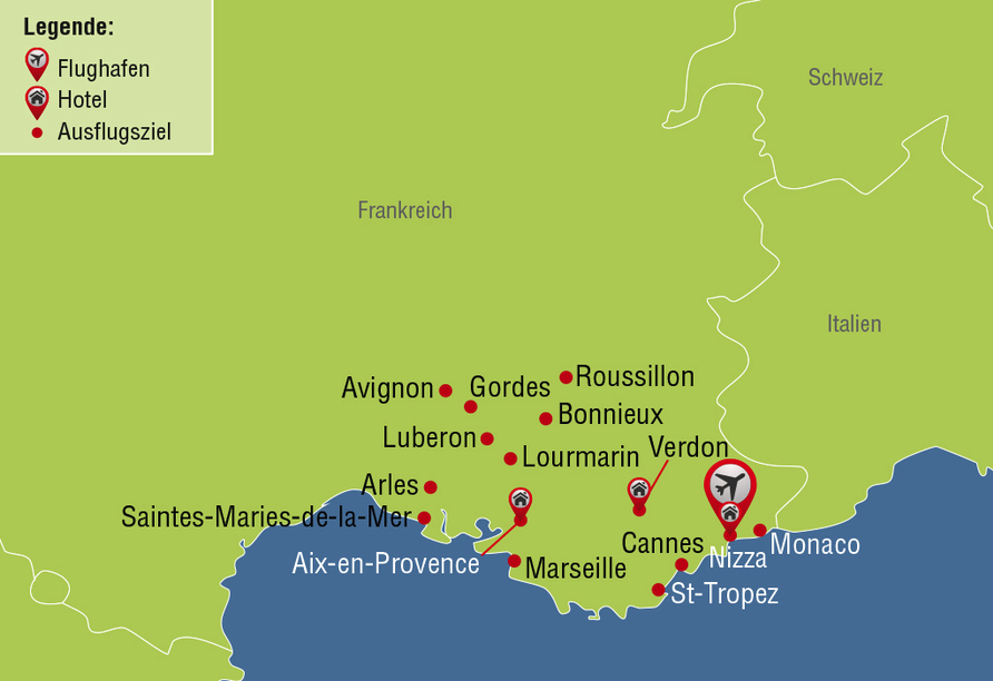 Rundreise Provence, Reisezielkarte