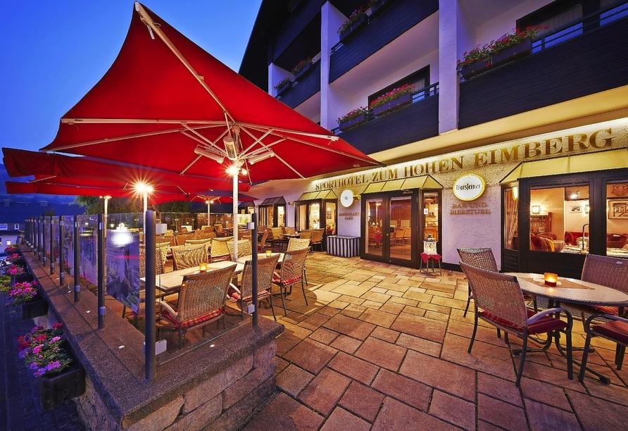Sporthotel zum Hohen Eimberg in Willingen, Terrasse