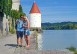 Der Schaiblingsturm in Passau war in der Salzhandel-Zeit Lager für Salz und Schutz für die Schiffe am Inn.