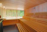 Erholung finden Sie in der Sauna.