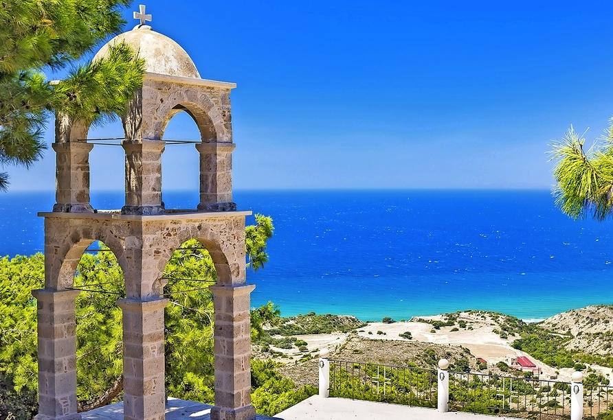 Besonders schön ist das rund 30 km entfernte Kloster Agios Ioannis bei Kefalos.