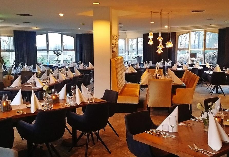 Im Restaurant des Hotel Golden Tulip Ampt van Nijkerk können Sie sich von leckeren Gerichten verwöhnen lassen.
