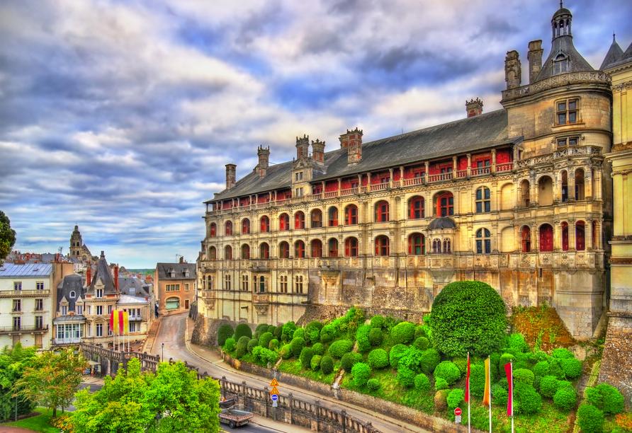 Auch die Stadt Blois beeindruckt mit einem Schloss.