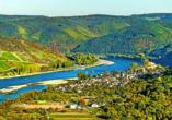 Blick auf Ihren Urlaubsort Osterspai im romantischen Rheintal