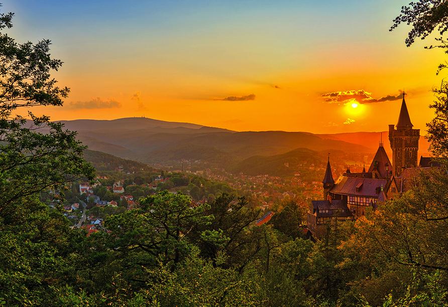 Schloss Wernigerode im Sonnenuntergang.