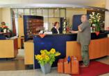 Die Rezeption vom Best Western Hotel Heidehof in Hermannsburg.