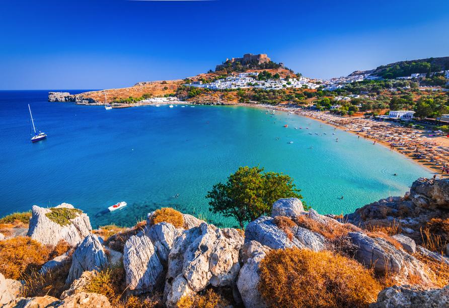 Das Wahrzeichen von Lindos ist die auf einem Felsen gelegene Akropolis.