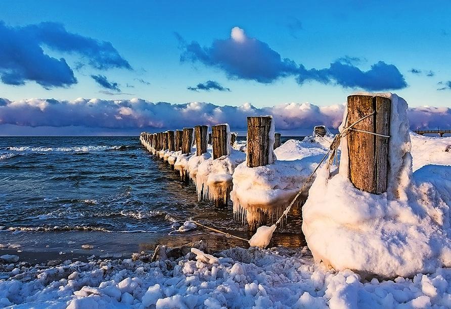 Hotel Die Kleine Sonne Rostock, Ostsee im Winter